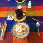 Every breakfast started off with a delicious bowl of fruit and tea/coffee