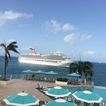 Watch the cruise ships coming in from the pool area with a morning coffee!