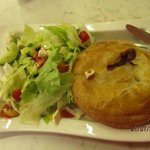 Meat pie with salad