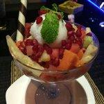 Ice cream with fruit salad