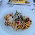 Tagliatelle with chanterelle (Brook trout in the back)