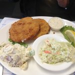 Codfish Cakes with Potato Salad and Coleslaw