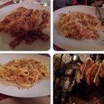 Pappardelle al cinghiale; Scialatielli è riso con tartufo. Particolare della taverna.