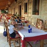 Terraced dining area