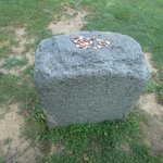 This stone marks the spot of the original tomb after the body was moved from the receiving vault