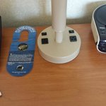 Outlets and CD player on nightstand