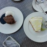 Lime cheese cake and chocolate brownie