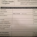 Questionnaire for investigation of reports of campylobacter