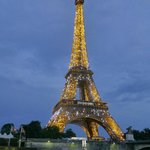 Eiffel Tower at night from cruise ship