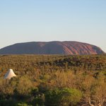 Our room and the view of the Rock (Uluru)