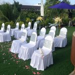 Wedding vow cermony in tent villa