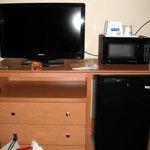 TV, Microwave and Fridge.