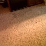 Carpet stains in front of the wet bar