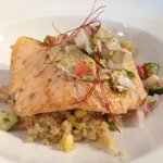 Roasted Salmon with chili butter and warm quinoa