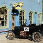 Exterior with antique car.