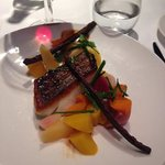 food at the hotel it s cod with garden vegetable from thibaut