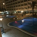 Pool in evening, view from room