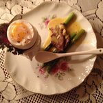 Appetizer:  egg with duck an asparagus in Homard sauce
