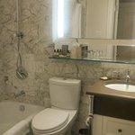 Luxurious marble bath with Kohler fixtures