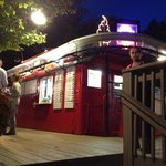 Outside of Red Caboose at night