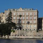 The hotel from the harbour. Suites are on the RH corners.