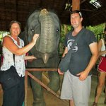 My stepson and I with the youngest elephant