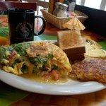 Omelette breakfast with coffee