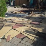 new flagstone in the courtyard finish by August