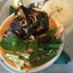 Chicken Laksa with extra aubergine & tofu. Amazing.