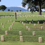 Civil War graves with Lookout Mountain in the Background