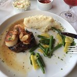 Surf & turf cooked perfectly & meat was so tender. Coleslaw went with hubby's mixes grill and wa