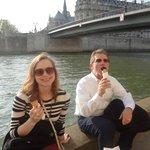 Sitting on the Seine enjoying ice cream