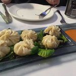 Momos Dumplings. These were sooo good! The dough was very light and the chicken filling bursting