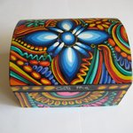 Hand made and coloured balsa wood box