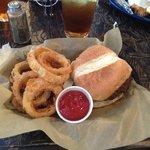 Hamburger and Homemade Onion Rings