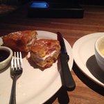 Monte cristo sandwich and loaded potato soup
