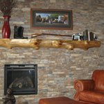 Inviting fire place and mantel