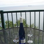 What more could you ask for?  A nice glass of riesling on the balcony while watching a ship go b
