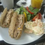 Mexican tuna baguette.  Lovely!