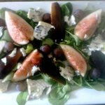 fresh figs and baby arugula, blue cheese...