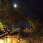 The gorgeous outdoor seating, with the full moon above!