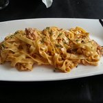 Lovely cremy salmon and caviar pasta. Really good!