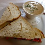 Sandwich  and soup.