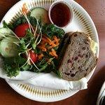 Chicken salad on cranberry walnut bread