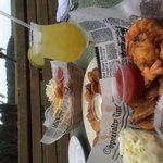 Fresh local fried shrimp and homemade fried pickles for lunch on the Marsh Deck! Best margaritas