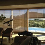 Main living area overlooking the pool and Pringle Bay