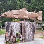 A large redwood carving on the property