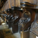 The choir stalls, showing the misericords... wonderful; carvings