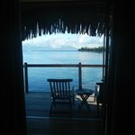The view of Moorea from inside the hut