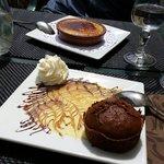 Crème catalane et moelleux au chocolat